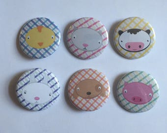 Farm Animals Pinback Button Set (6)