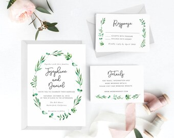 Botanical Wedding Invitation Suite, Wedding Invitation Printable, Invitation Set, Wedding Invitation Rustic, Letter or A4 (Item code: P296)