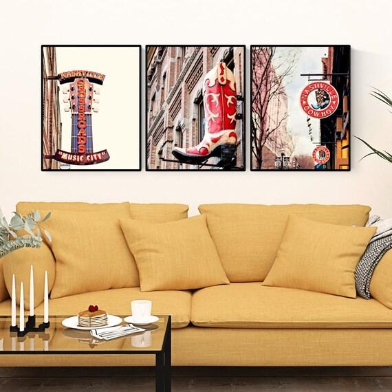 city prints wall art set Nashville art city wall art photos