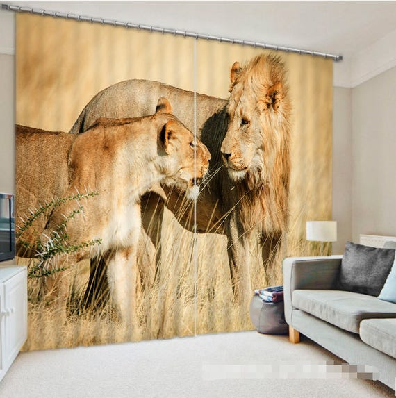 3D Lion Drapes by AJWALLPAPERS