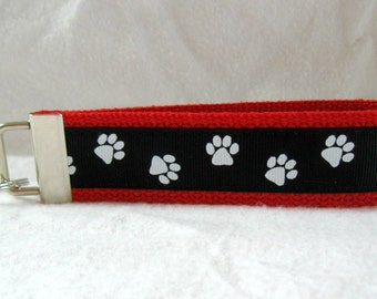 Paw Print Key Chain - RED Black Animal Key Fob - Wristlet School Spirit Keychain - Dog Paw Print Key Fob - Cat Paw Print Key Chain