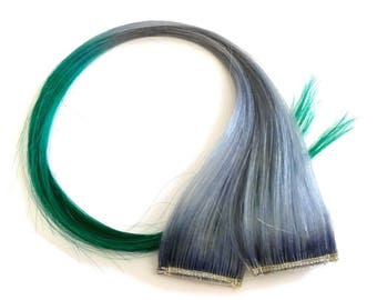 """Set of TWO 20"""" Clip-In Human Hair Streaks, Lavender Grey with Clover Tips - green gray silver festival hair extensions"""