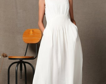 White Linen Dress, linen dress, maxi dress, white maxi dress, white dress woman, linen clothing, plus size dress,  plus size clothing C538