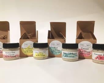 Organic lip scrub, sugar lip scrub, exfoliating lip scrub, choose you flavor