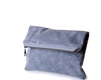 The Envelope Clutch no.1  in gray waxed canvas