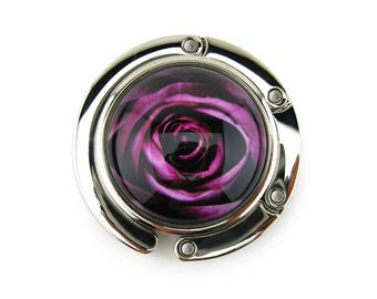 Purse Hanger, Purse Hook, Purse Holder, Folding, Photo, Magnetic, Glass, Rose, Dark Pink, Flower, Floral