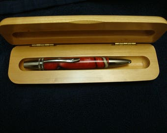 Handmade Polaris Acrylic Pen With Maple Box Pen One Of A Kind Gift Under 50 Dollars