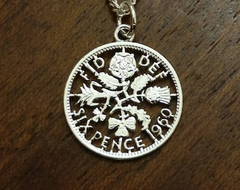 1960 Sixpence - Cut Out Coin Necklace