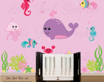 Sea life wall decals, under the sea, wall decals shark, fishes nursery wall decal, sea wall decals