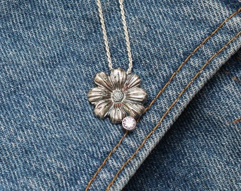 Lucia, Daisy flower silver metal clay pendant with CZ gemstone, delicate, feminine, lightweight necklace