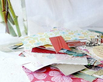 Paper Embellishment Pack, Scrapbooking Supply, 50 Paper Pieces, All Occasion, Junk Journal Pack, Smash Book
