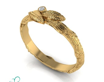 Leaf Wedding Band Diamond Tree Bark Twig Wedding Ring