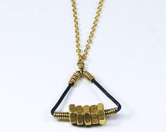 Brass Triangle Necklace- Upcycled Brass Hex Nut Necklace, Hardware Jewelry, Geometric Jewelry, Geometric Necklace, Contemporary Jewelry