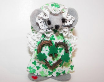 St Patrick's Day Felt Mouse Colleen an Irish Gift for Animal Collectors by Warmth