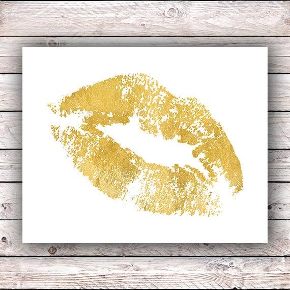 Gold lips art FAUX Gold foil printable wall art Gold lips