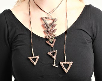 Triangle necklace, brown necklace, modern necklace, geometric necklace, boho, versatile, wire sculpture, art necklace, Christmas gift women