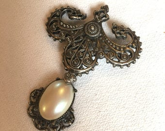Beautiful Vintage Antiqued Silver Victorian Edwardian Revival Pearl Drop Medal Style  Brooch Pin