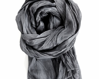 Charcoal Gray Silk Scarf, Hand Dyed Gray Scarf, Mens Minimalist Fall Winter Travel, Luxury Gift 2 sizes, Womens Silk Scarf, Small Silk Scarf