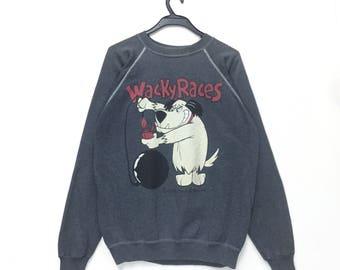rare ! wacky races cartoon big logo pullover jumper crew neck sweatshirt kqFeHcevl