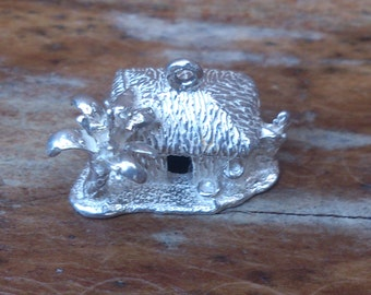 large sterling silver tropical hut charm