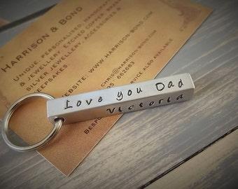Personalised Keyring, Bar Keyring, Custom Keyring, Bar Key Fob, Stamped Key Chain, Personalised Key Fob, Personalised Gift, Silver Keyring