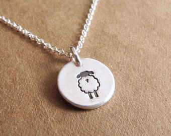 Teeny Tiny Lamb Necklace, Teeny Tiny Sheep Necklace, Fine Silver, Sterling Silver Chain, Made To Order