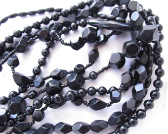 Vintage Black Glass Necklace Multi  Six Bead Strand Choker