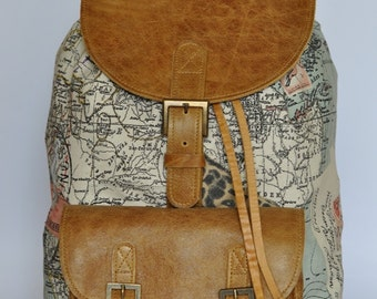 Wanderlust backpack genuine leather and world map atlas genuine leather and african print fabric backpack gumiabroncs Choice Image
