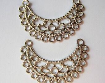 6 Crescent Earring chandelier antique silver filigree earring findings 23mm 35mm