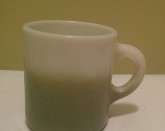 Vintage Milk Glass Avacodo Green Ombre and White Coffee Mug Cup