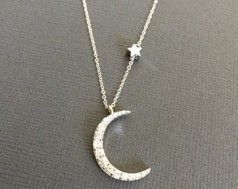 925 Silver Moon Necklace, Star necklace, Star and Moon Jewelry, layering necklace, mothter daughter Necklace, I Love you to the moon muse411