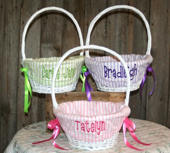 White Easter Basket, Easter Basket, Custom Easter Basket, Wicker Easter Basket, Lined Easter Basket, Personalized Easter Basket