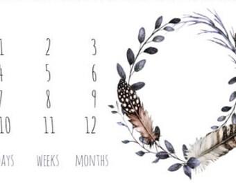 Feathers Boho Milestone Blanket - Photo Prop - Knit Blanket - Minky Blanket - Monthly Photo Blanket - Baby Girl Gift