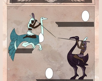 Joust Stela - Atari in Egyptian Art Illustration