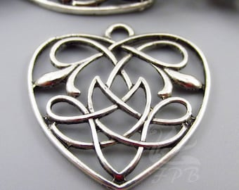 2 Celtic Knot Heart Charms 31mm Wholesale Antiqued Silver Plated Pendants SC0104105