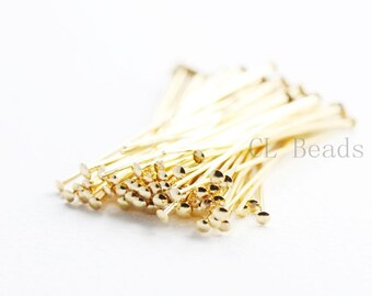 100pcs Gold Plated Brass Base Umbrella Head Pins-38mm (1.5 Inch)-22 Gauge (352C-I-40H)
