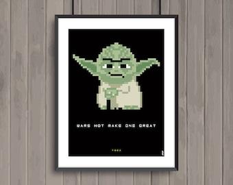 STAR WARS, Yoda, Pixel art movie poster