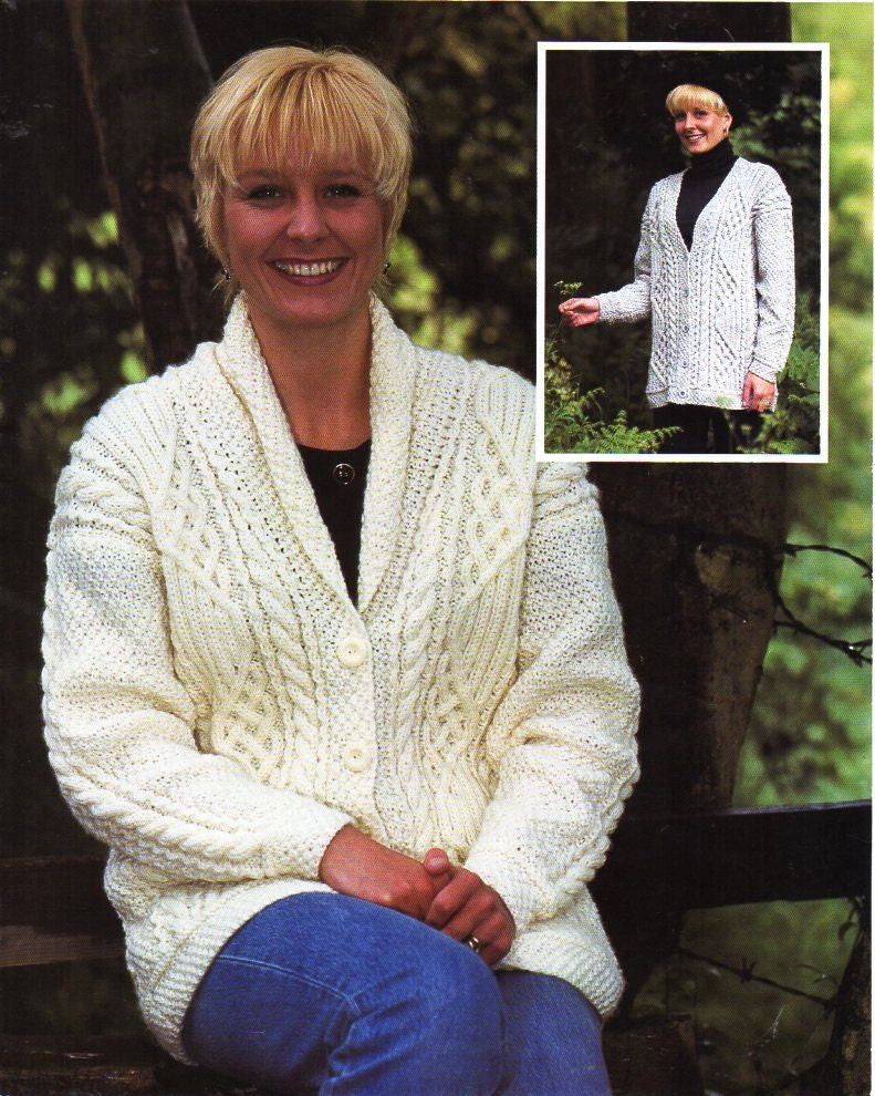 Womens Aran cardigan knitting pattern PDF ladies cable Jacket shawl ...