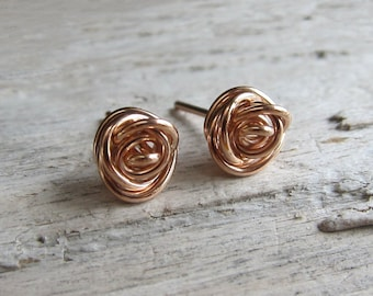Love knot studs. Rose gold tie the knot posts. Bridesmaids earrings. Fancy ball posts.