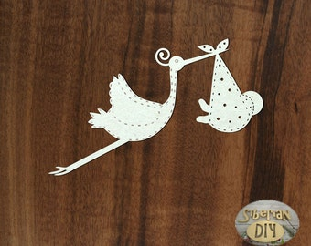 "Laser Cut Chipboard ""Stork [3]"""