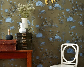 Woodlands Wallpaper Khaki Blue