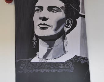 Frida Kahlo portrait artist finished print from original painting Without