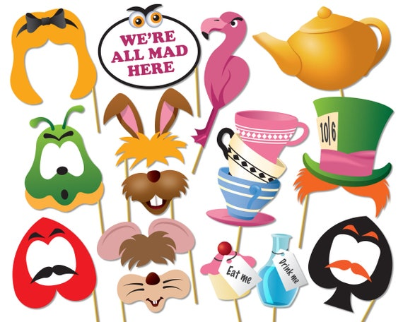 Printable Alice in wonderland party photo booth props set. Mad