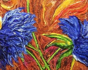 Blue Mums 6 by 18 inchs Original Impasto Oil Painting by Paris Wyatt Llanso