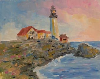 "Lighthouse at Dusk - Original Impressionist 8x10"" Oil Painting"