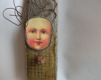 lesaet face assemblage vintage and found objects