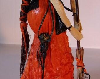 Elegant Witch Cornhusk Art Doll - OOAK