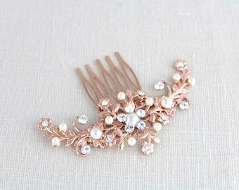 Rose Gold Hair comb, Wedding hair comb, Rose Gold headpiece, Wedding headpiece, Rhinestone hair comb, Floral headpiece, Swarovski crystal