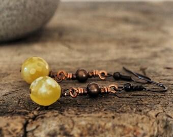 Bronze earrings and yellow agate, long earrings, boho jewelry earrings, yellow earrings, boho earrings, natural gemstone earrings,