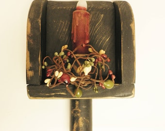 Primitive Grain Scoop Candle Sconce, Country Farmhouse Decor, Christmas Decor